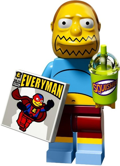Comic Book Guy figure by Matt Groening, produced by Lego. Front view.