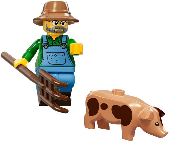 Farmer figure by Lego, produced by Lego. Front view.