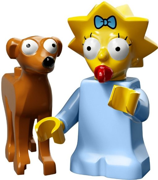 Maggie Simpson with Santas Little Helper figure by Matt Groening, produced by Lego. Front view.