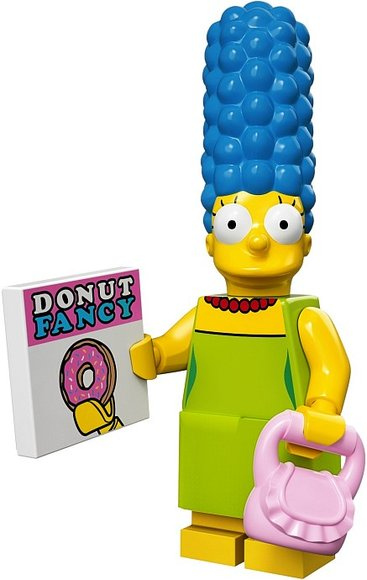 Marge Simpson figure by Matt Groening, produced by Lego. Front view.