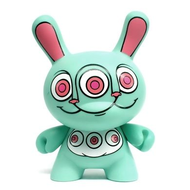 Rabbbit Dunny figure by Ron English, produced by Kidrobot. Front view.