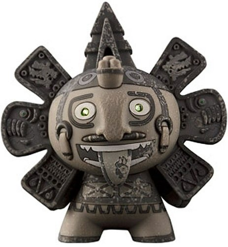 Calendario Azteca figure by The Beast Brothers, produced by Kidrobot. Front view.