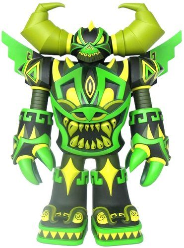 Mecha Azteca - Jungle  figure by Jesse Hernandez, produced by Raje Toys. Front view.