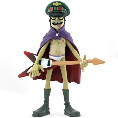 murdoc figure by Jamie Hewlett, produced by Kidrobot. Front view.
