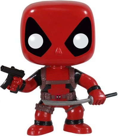 DeadPool figure by Marvel, produced by Funko. Front view.