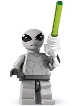 Classic Alien figure by Lego, produced by Lego. Front view.