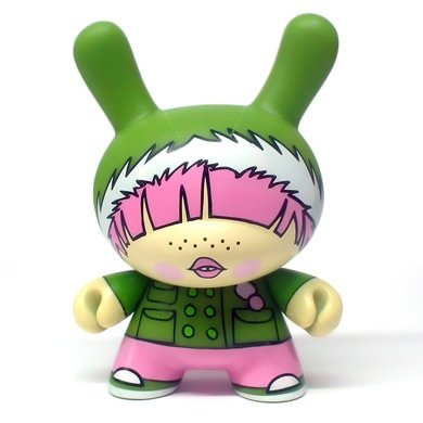 Hoodie  figure by Fawn Gehweiler, produced by Kidrobot. Front view.